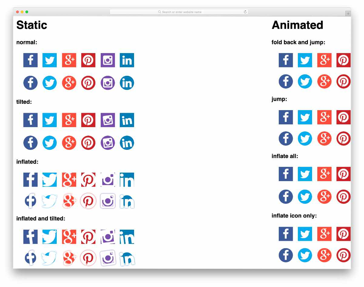 static and animated icon examples