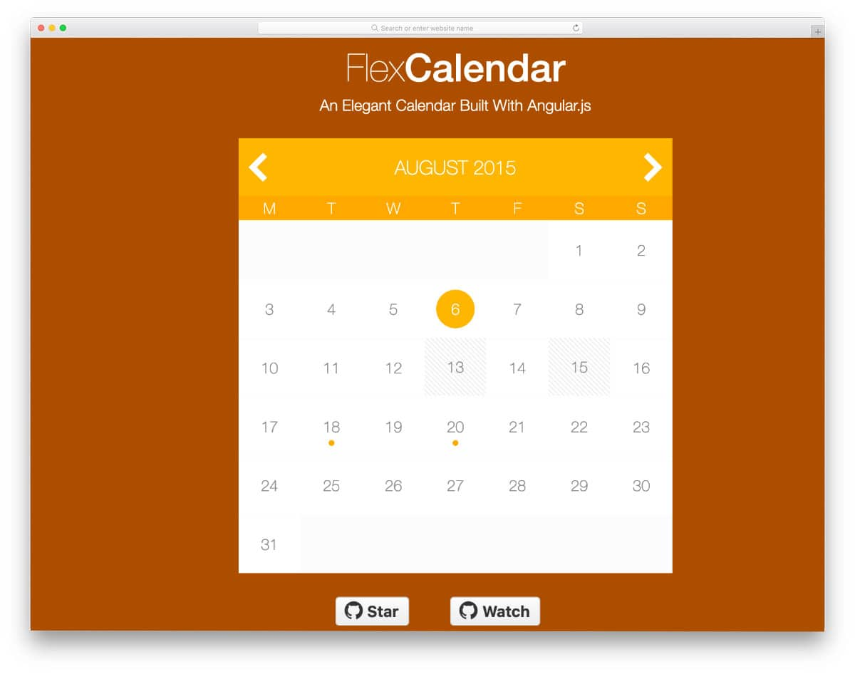 HTML calendar with basic functions