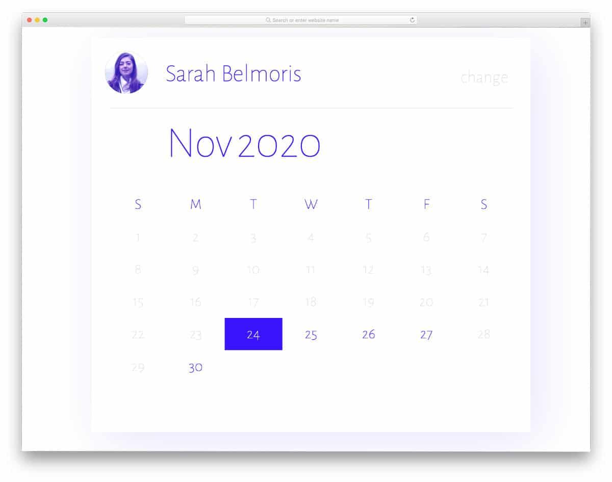 CSS calendar design for booking purpose