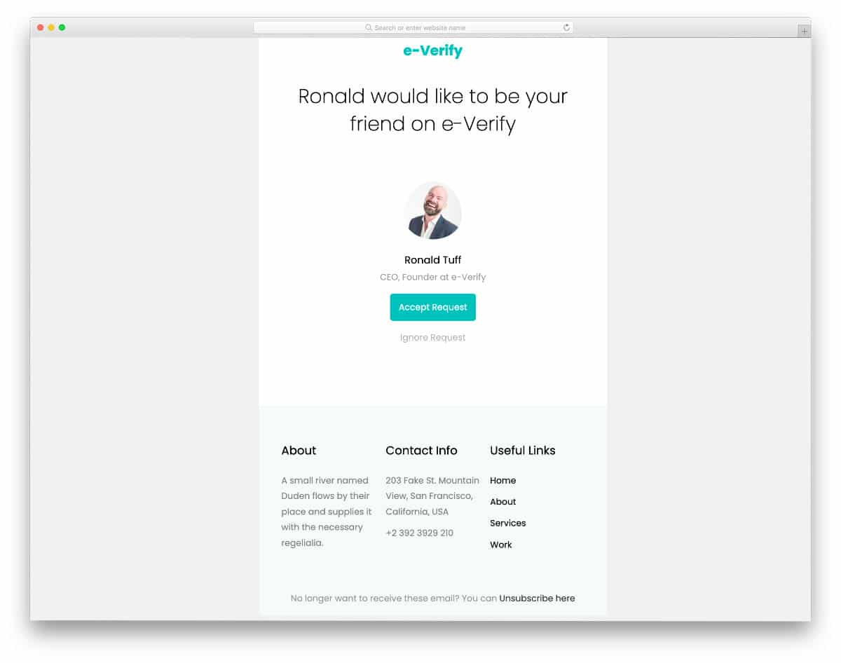 profile request email template