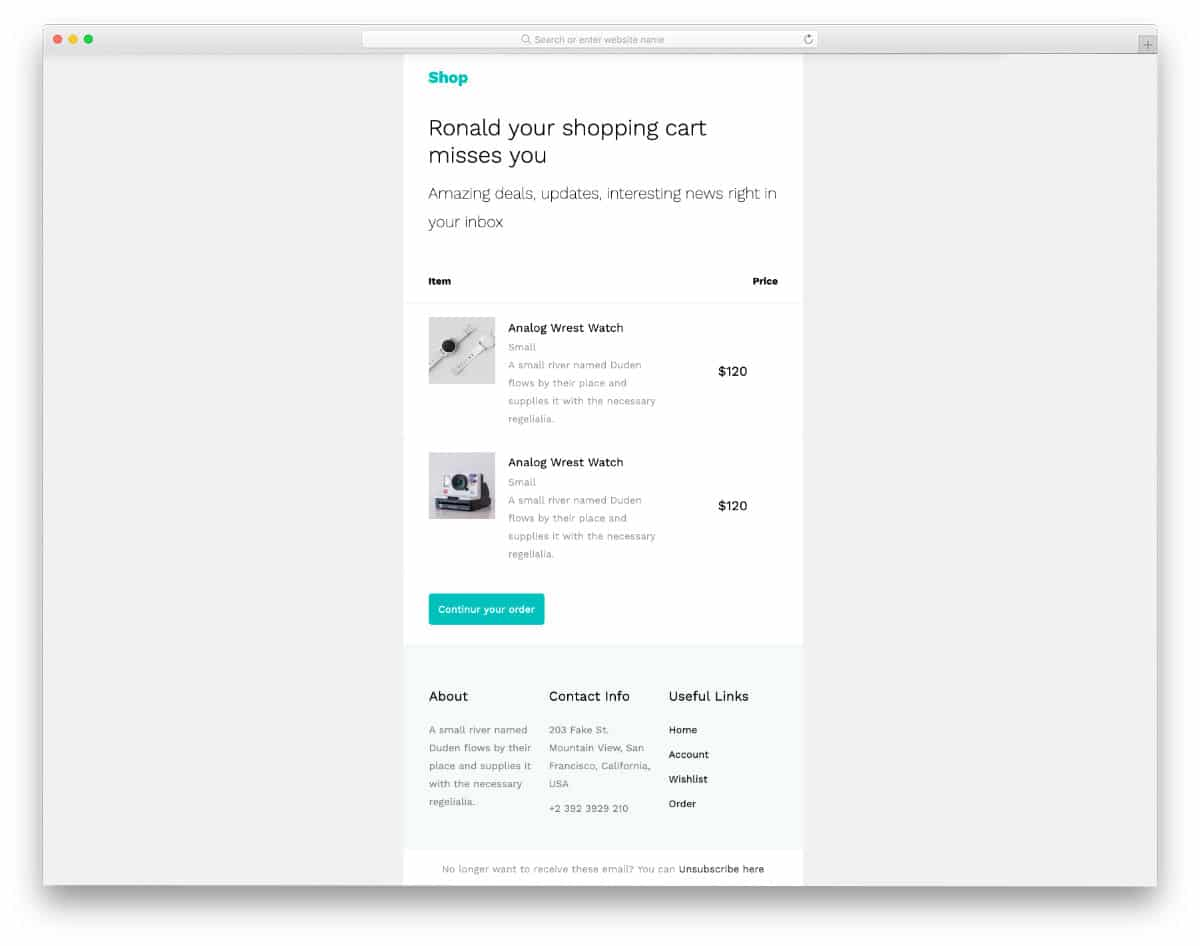 free responsive email templates for eCommerce stores