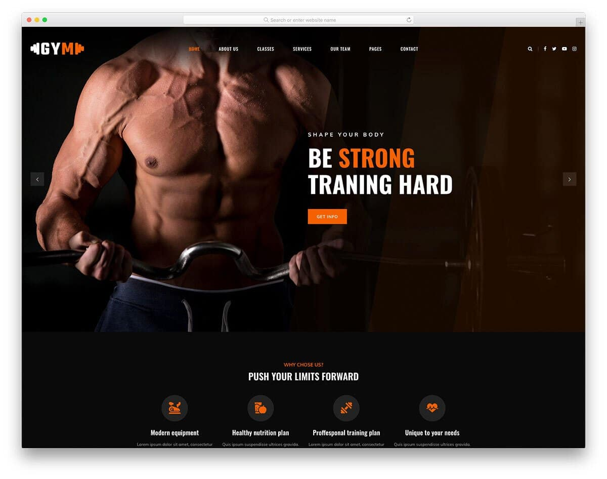 multipurpose sports and fitness website template