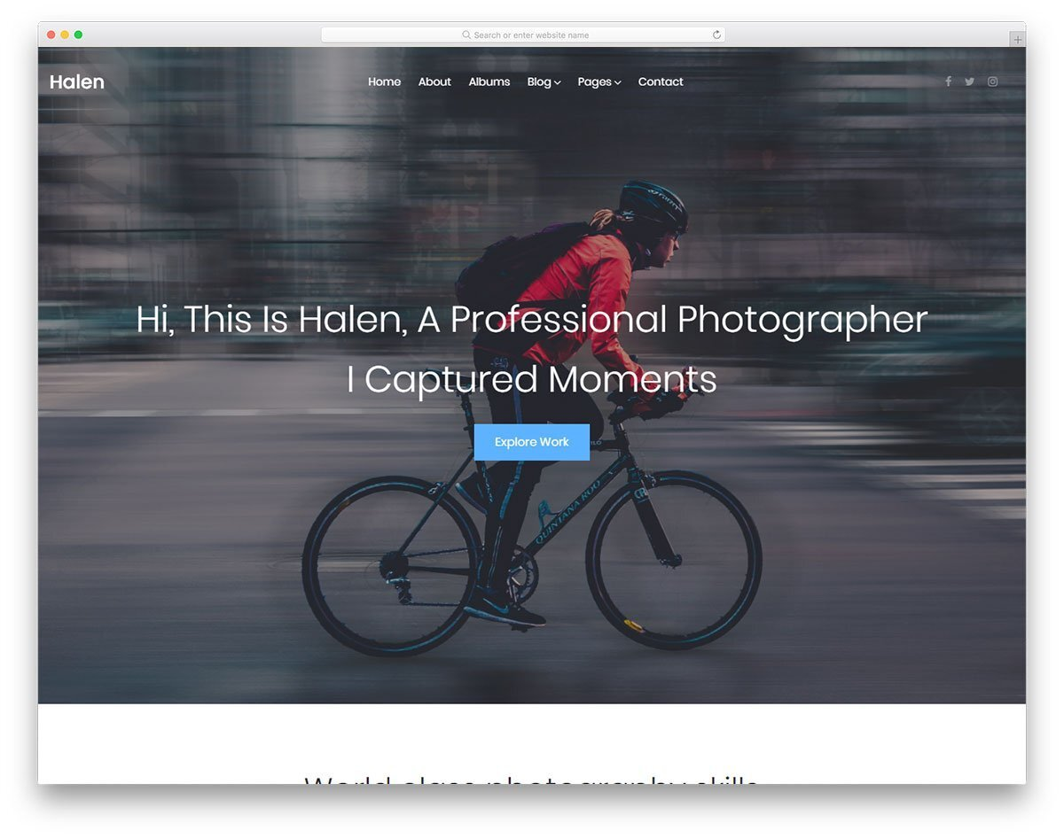 photographer personal website template
