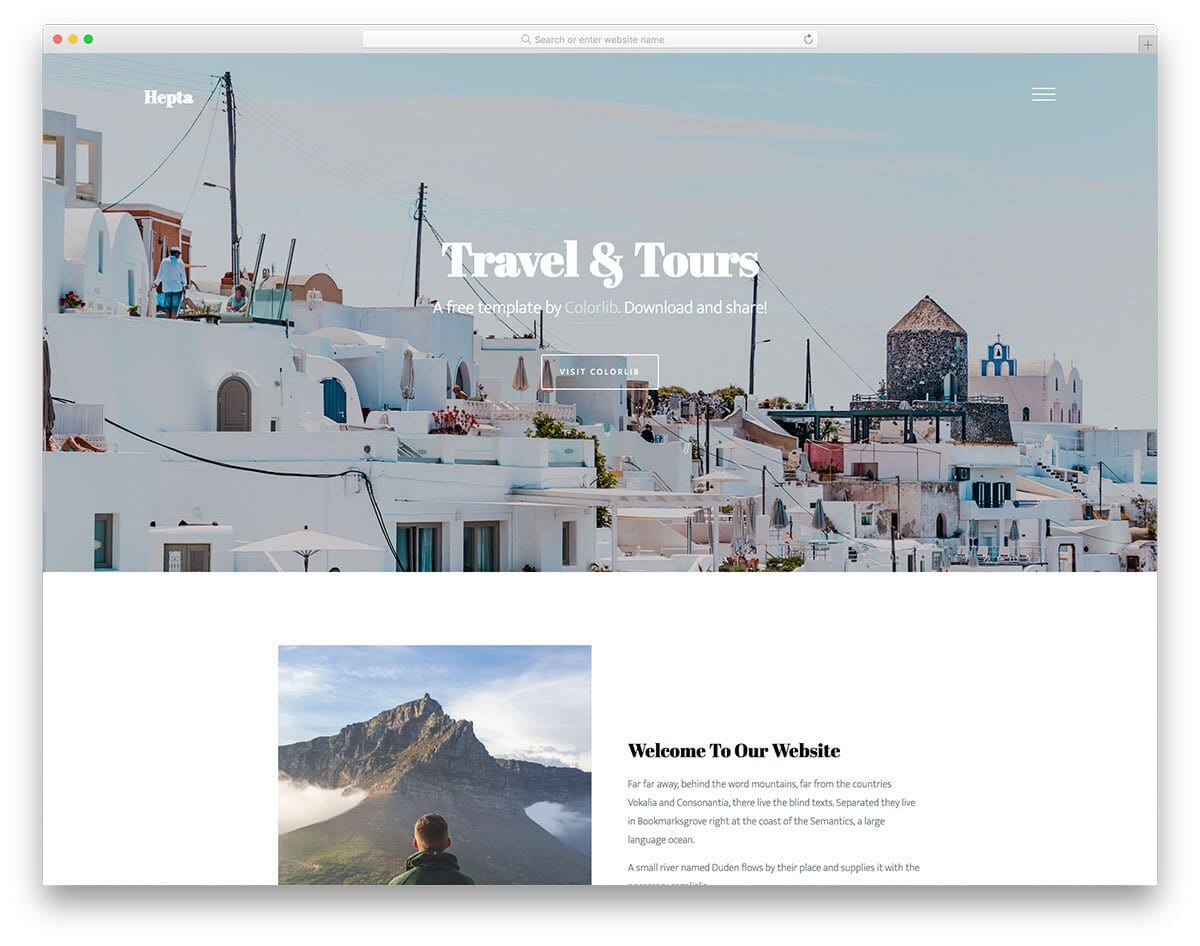 ultra-clean free travel agency website template