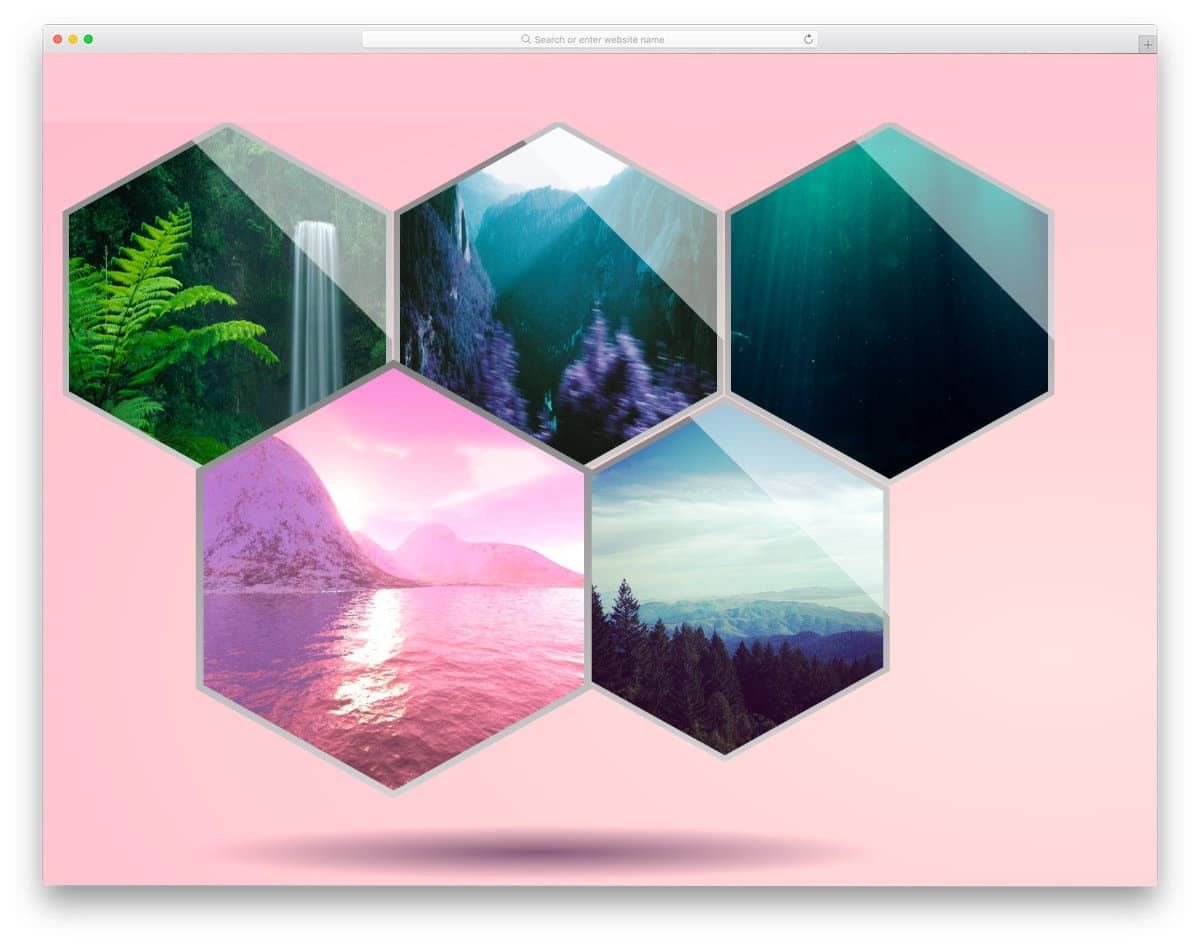 animated bootstrap hexagon-style gallery