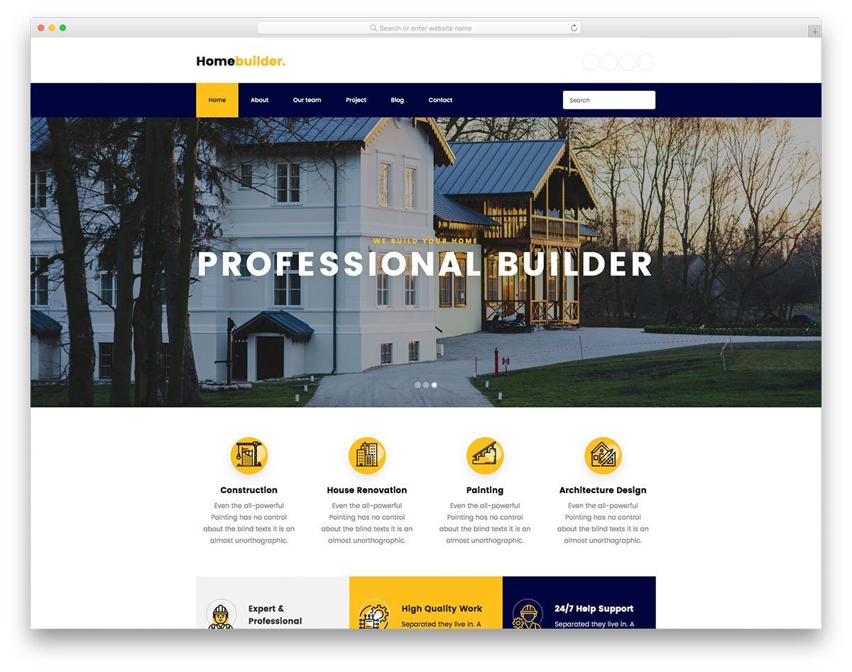 feature-rich home builder website templates
