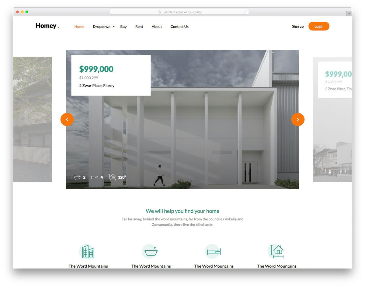 simple and clean real estate website template