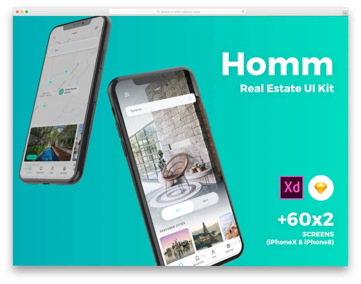 real estate app sketch ui kit
