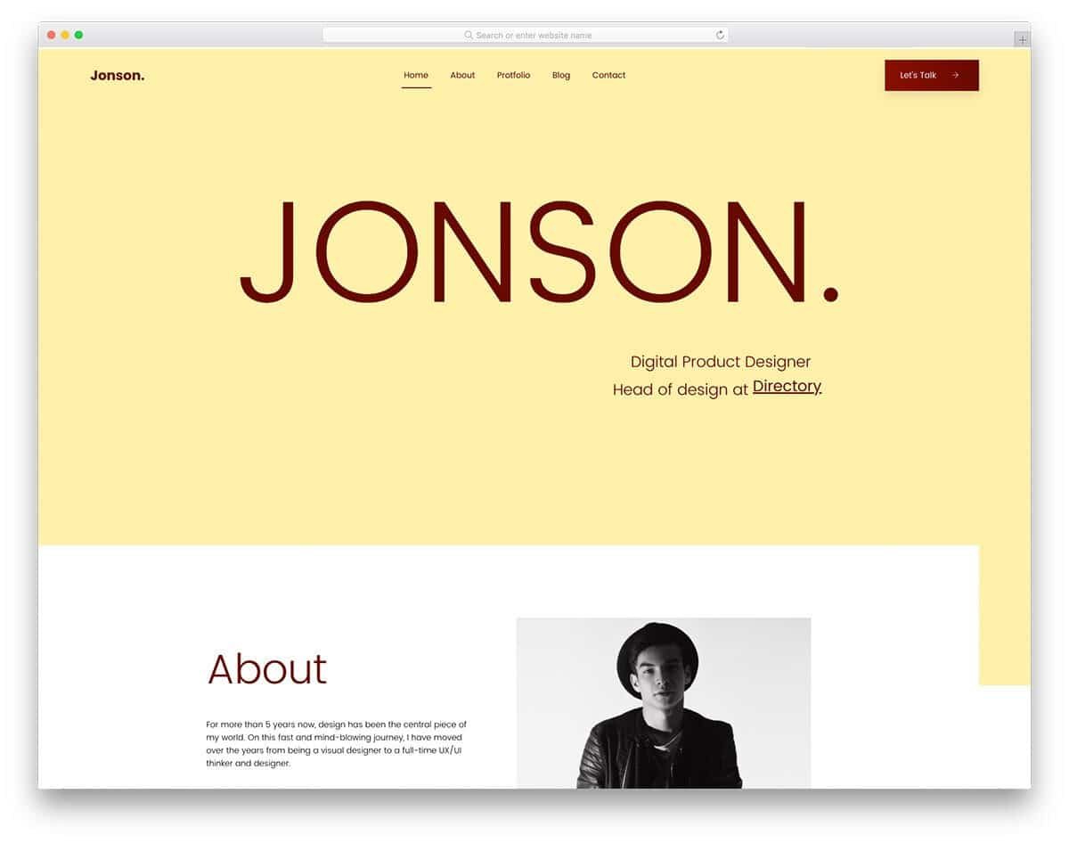 simple and elegant free personal website templates