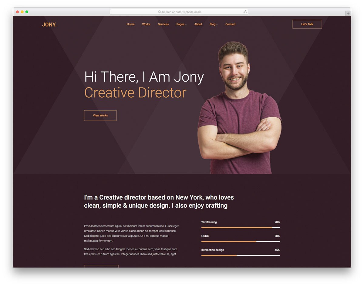 freelancer website template with personal-brand boosting design