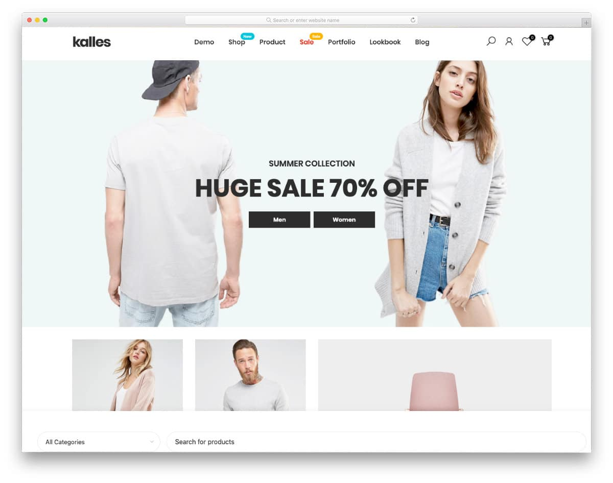 clean layout Shopify themes