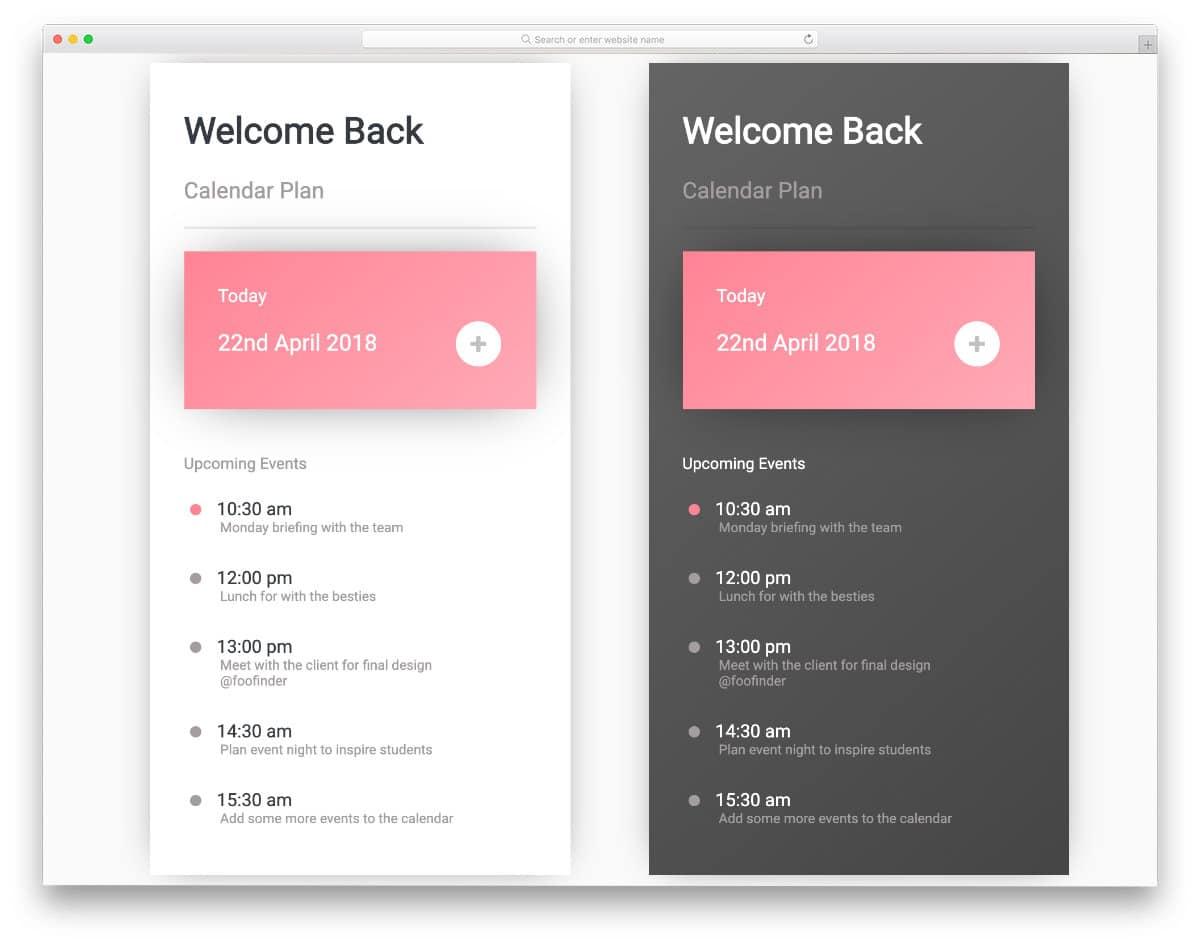 calendar mobile app concept