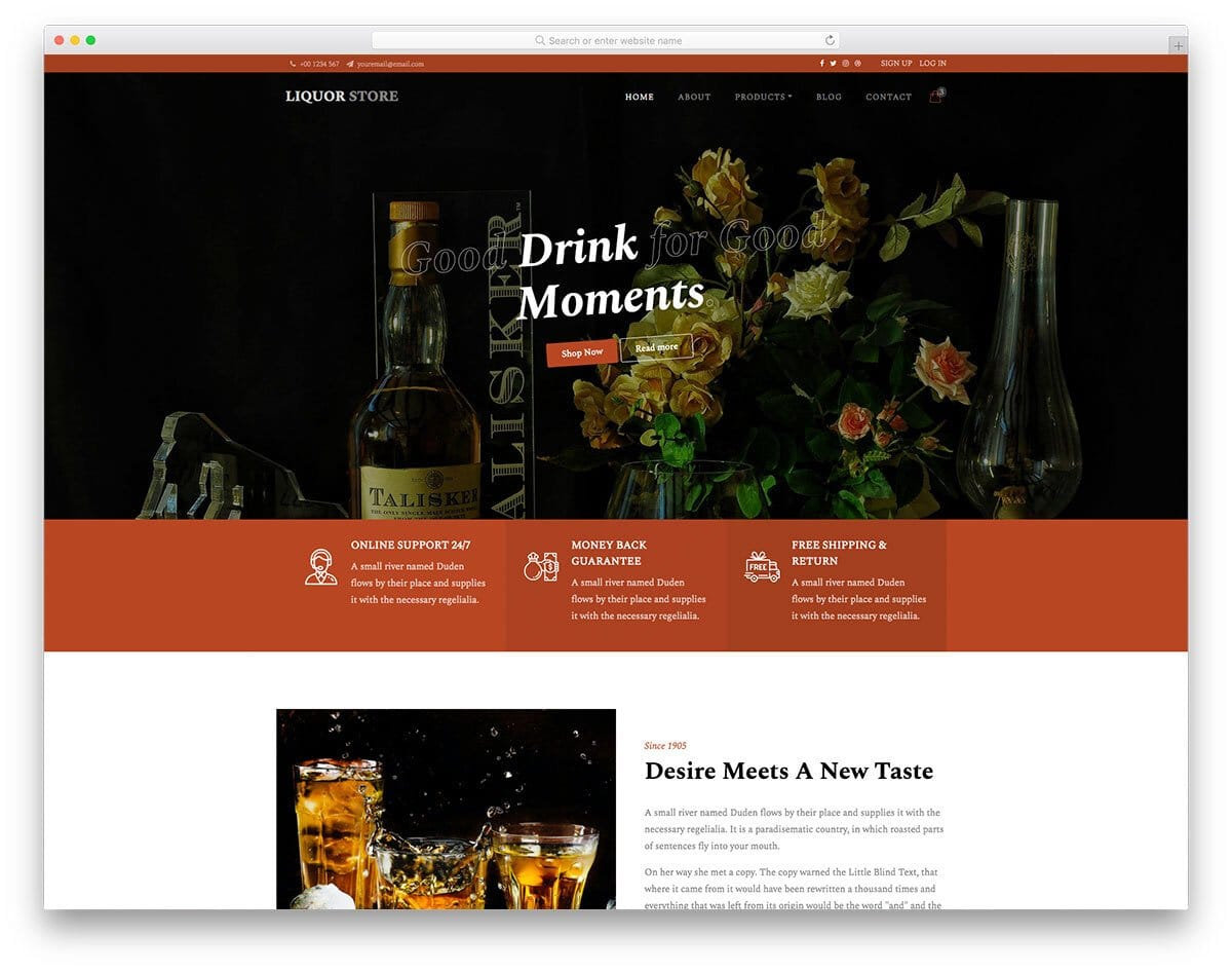 online store template for liquor stores