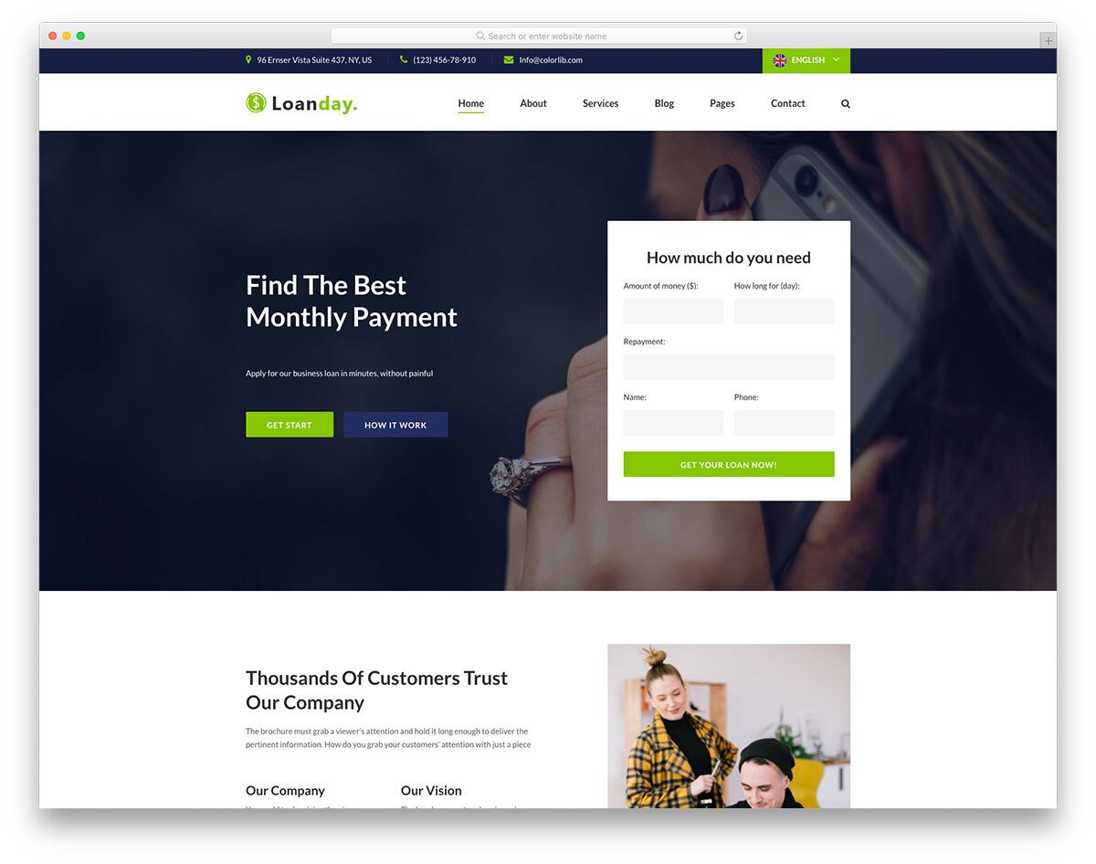 free finance website template for business concentrating on loan
