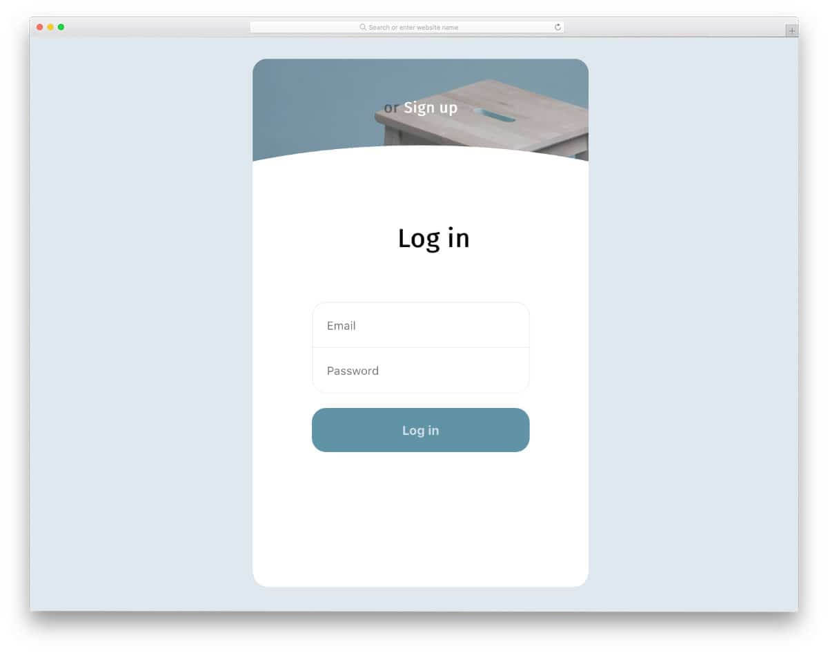 login page animation concept