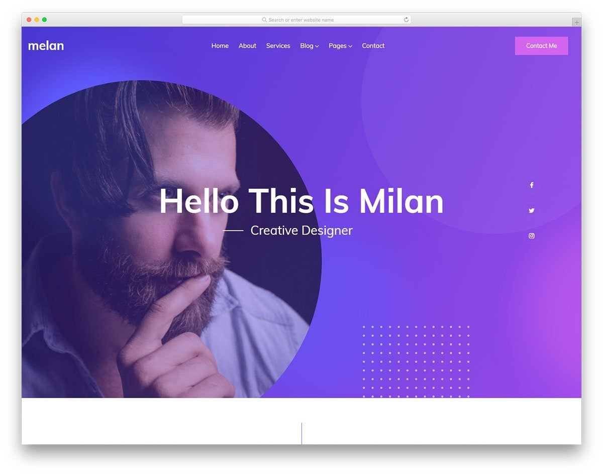 personal website template for creative minds