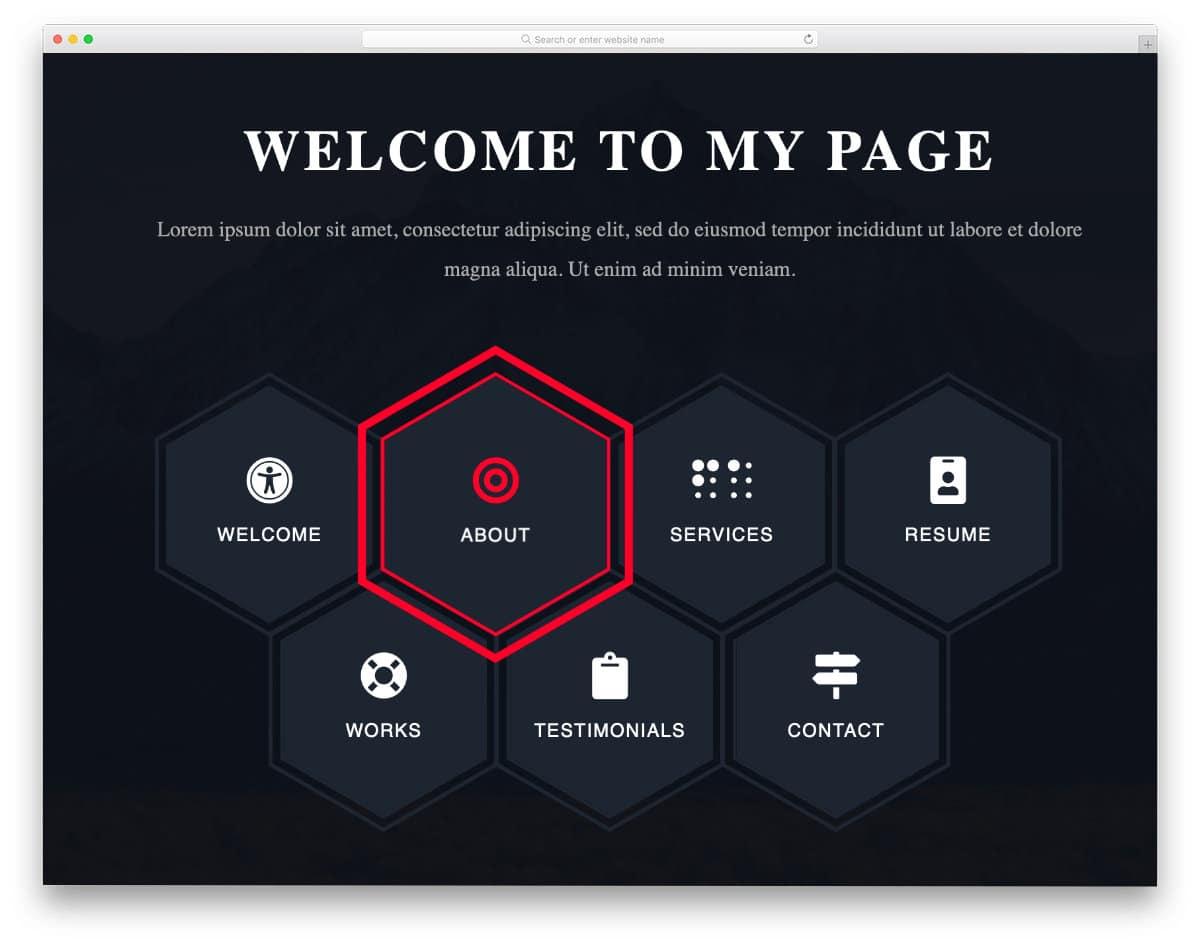 CSS menu with hexagon shape