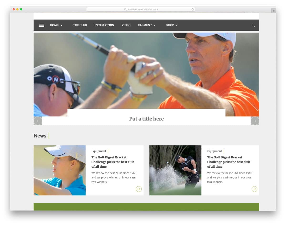 simple golf theme