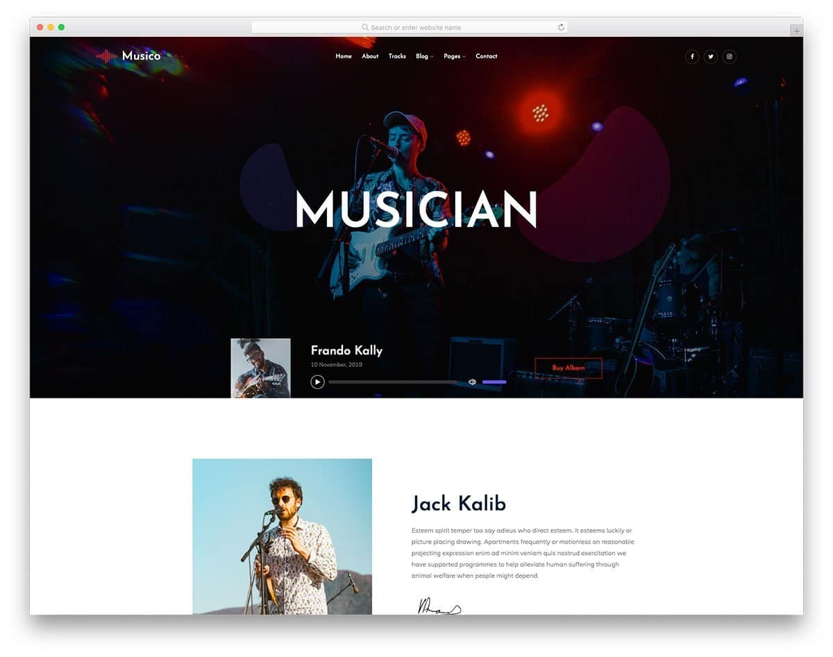 musician and band website template