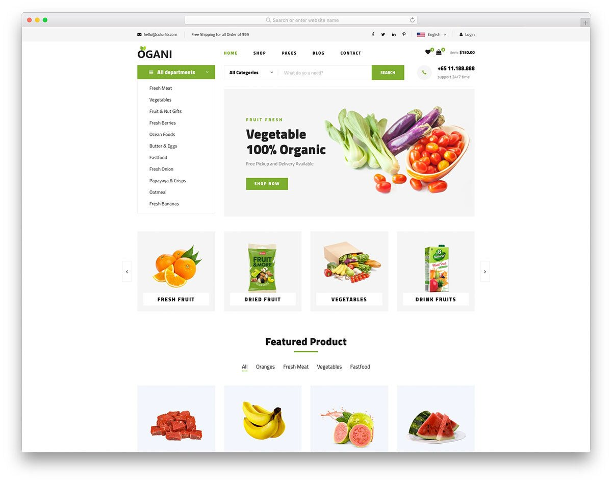 online food website template