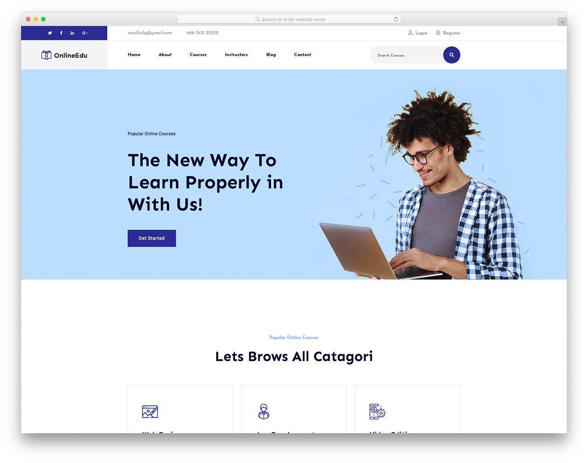 online courses offering website template