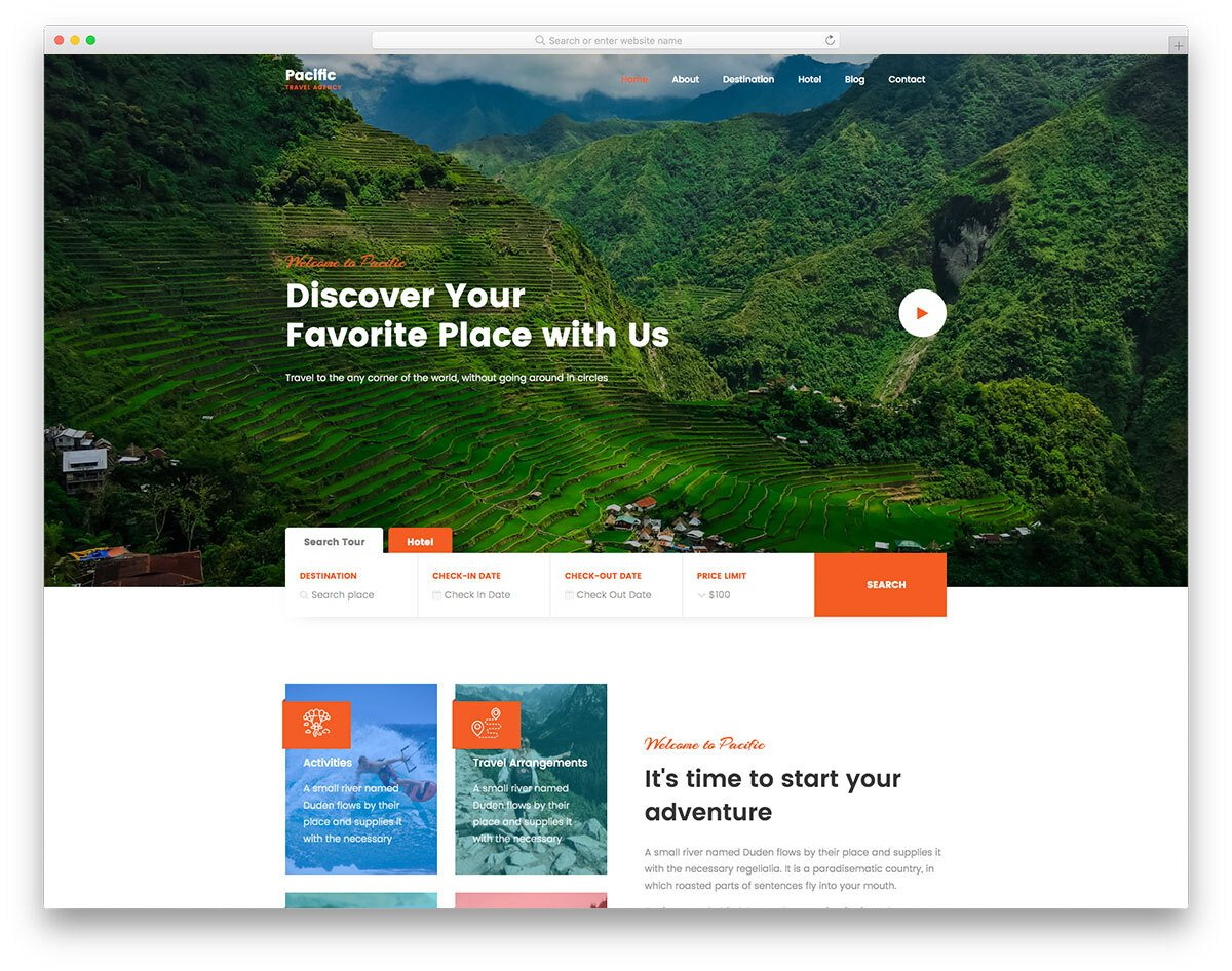 travel agency website template for agencies offering vacation packages