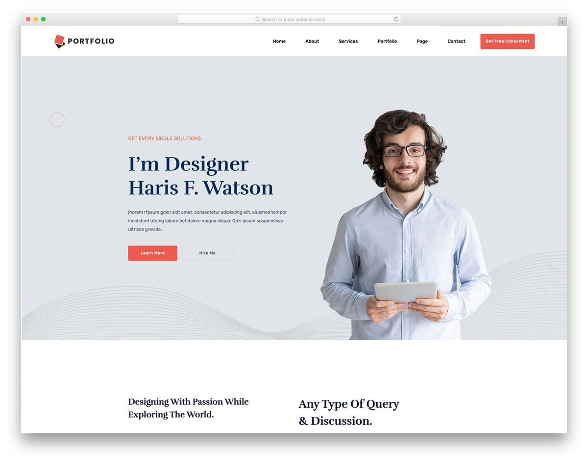 business class personal website template