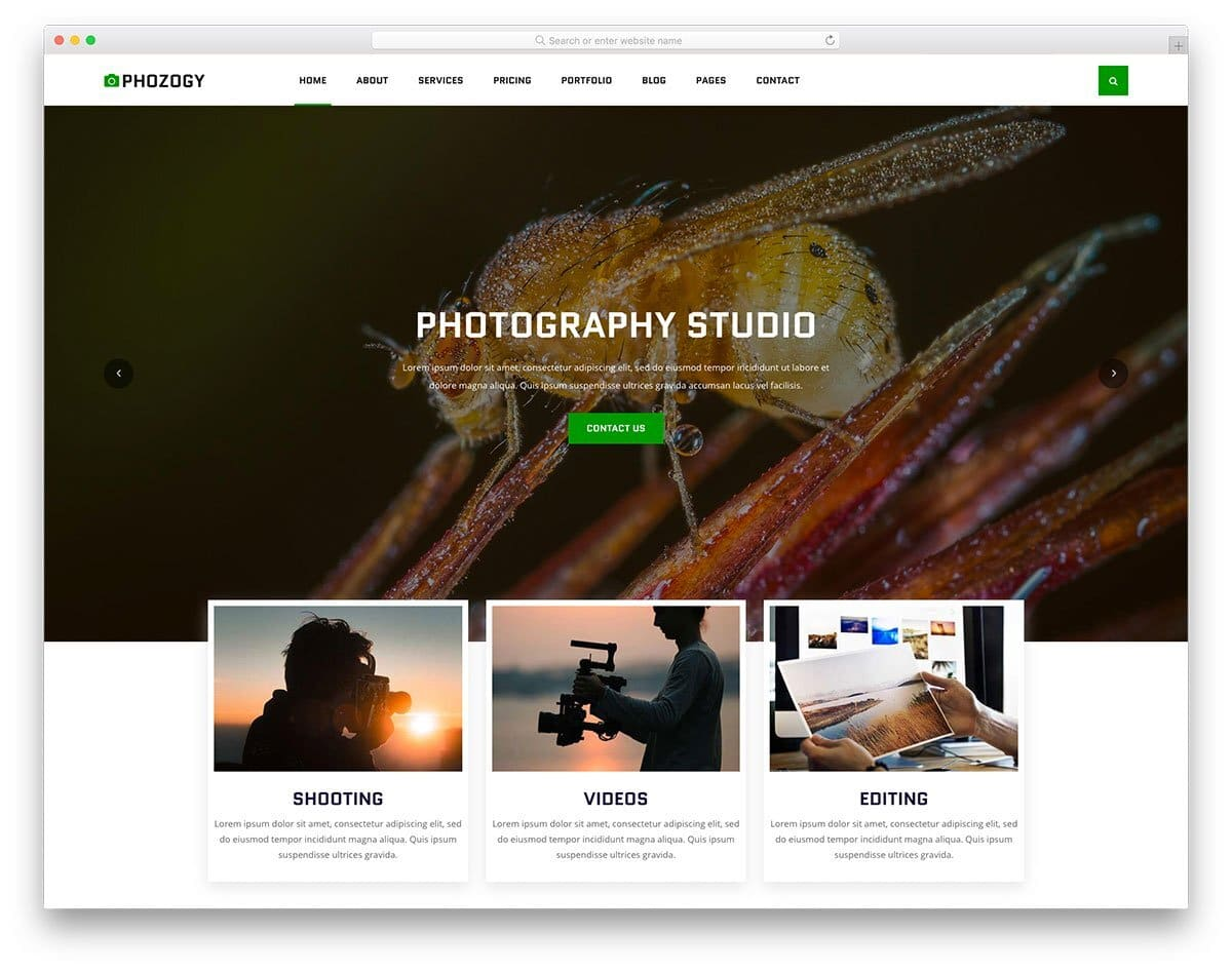 website template for photographers and videographers
