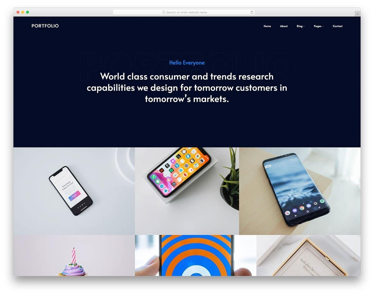 portfolio-centric website template