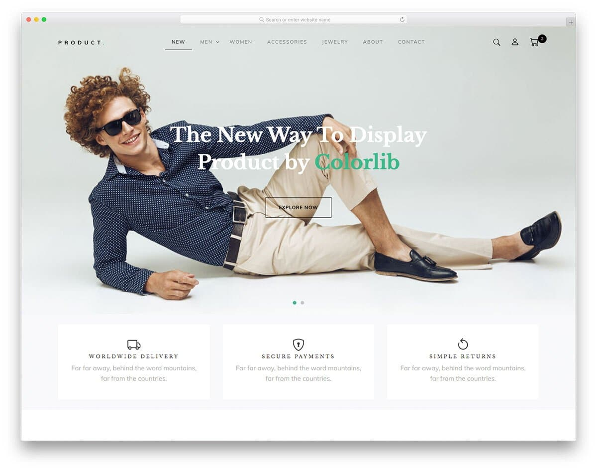product-focused free shopping website template