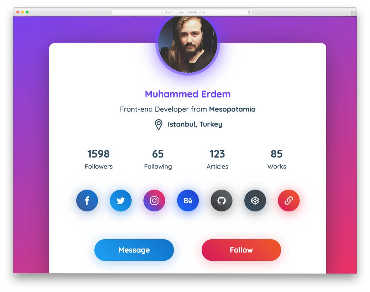colorful profile card