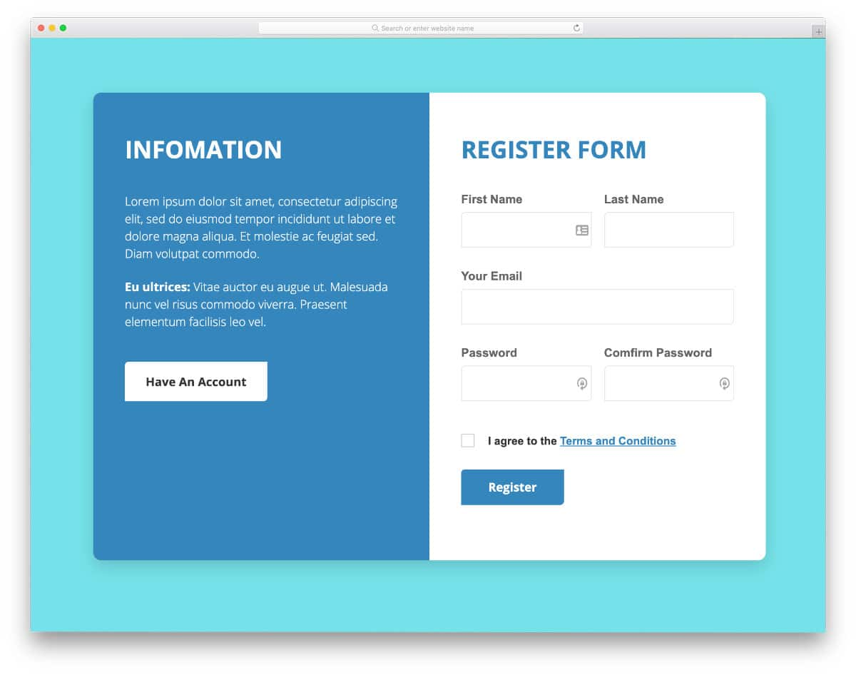 professional-looking registration form