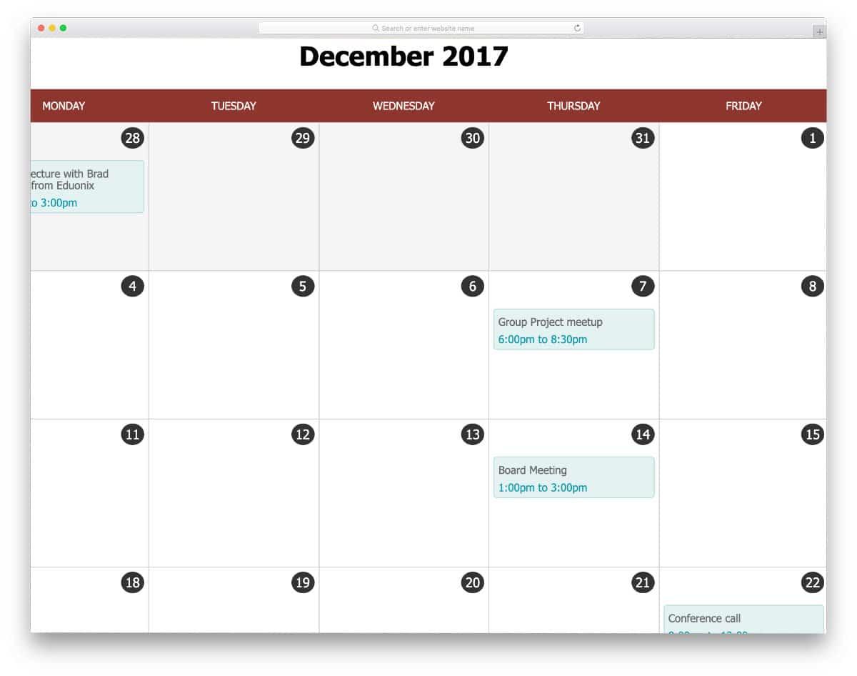 retro-style calendar