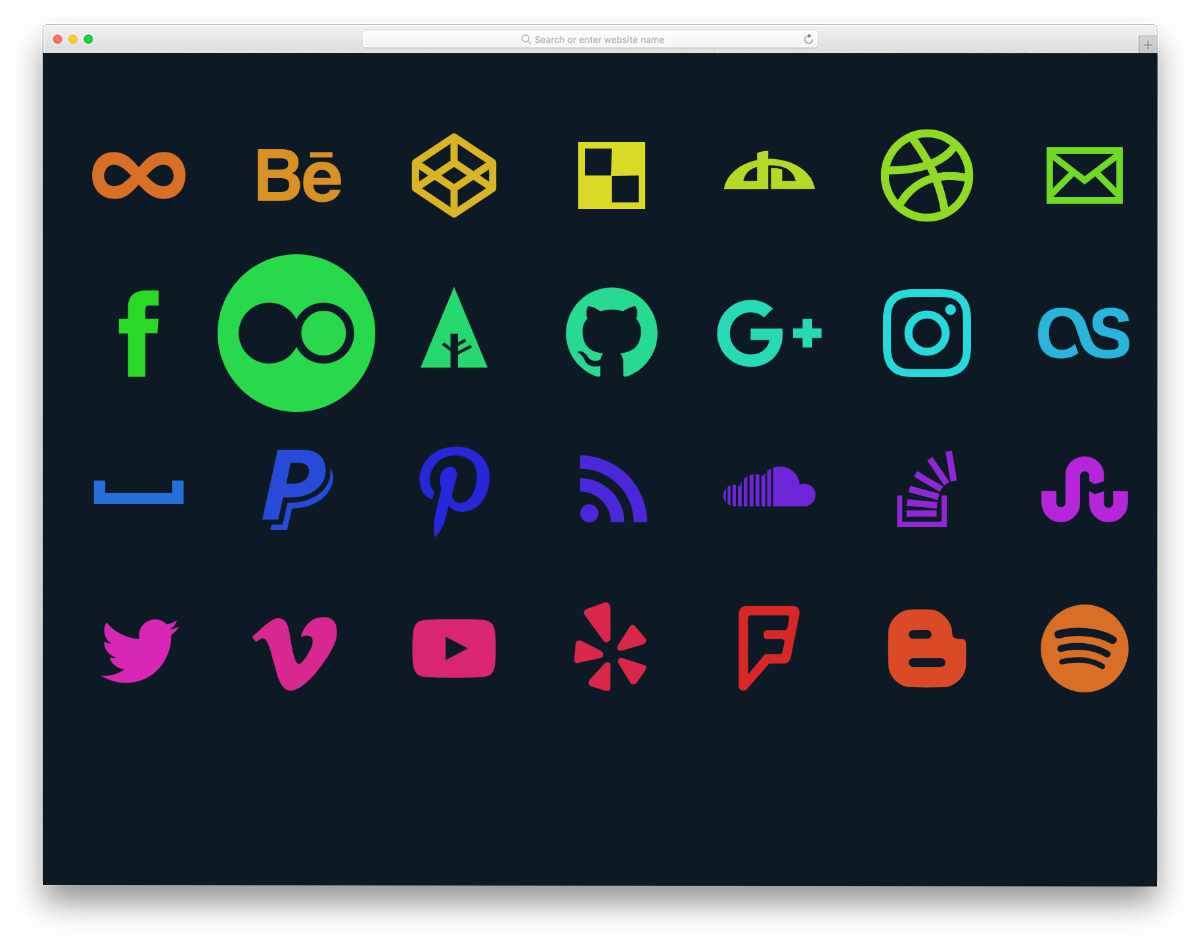 radiant color social media icons