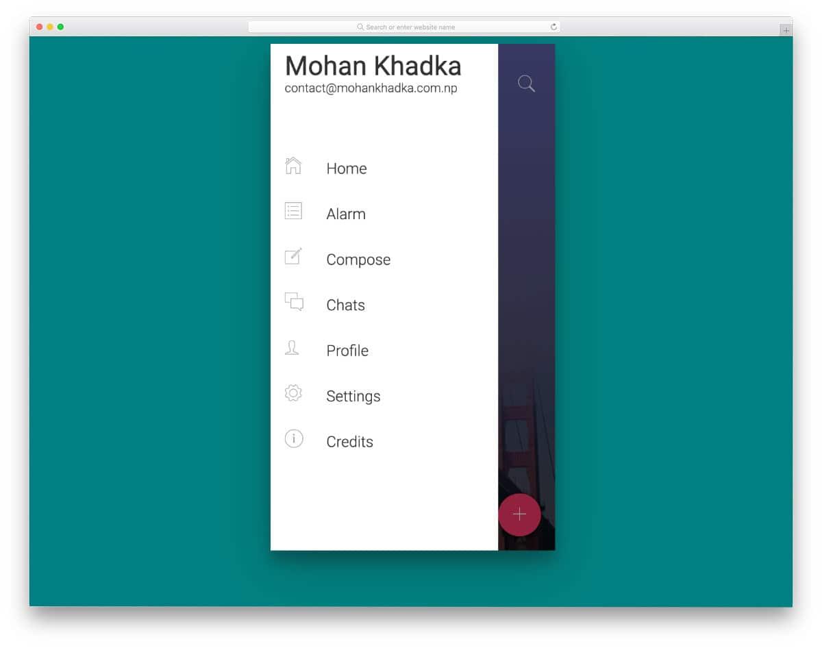 mobile app sidebar design'