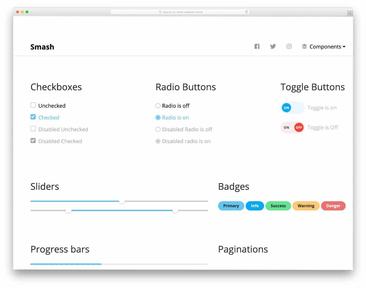 UI kit with simple CSS checkbox design