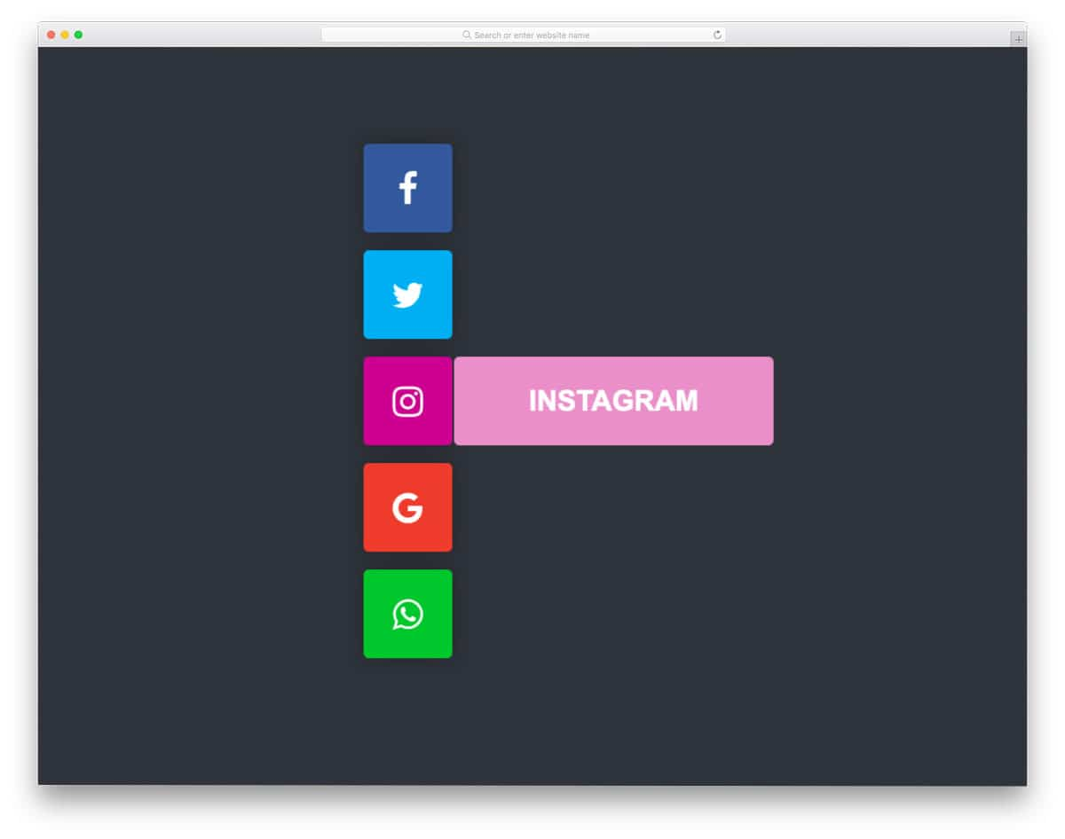 flat-style HTML social media icons with unfolding animation
