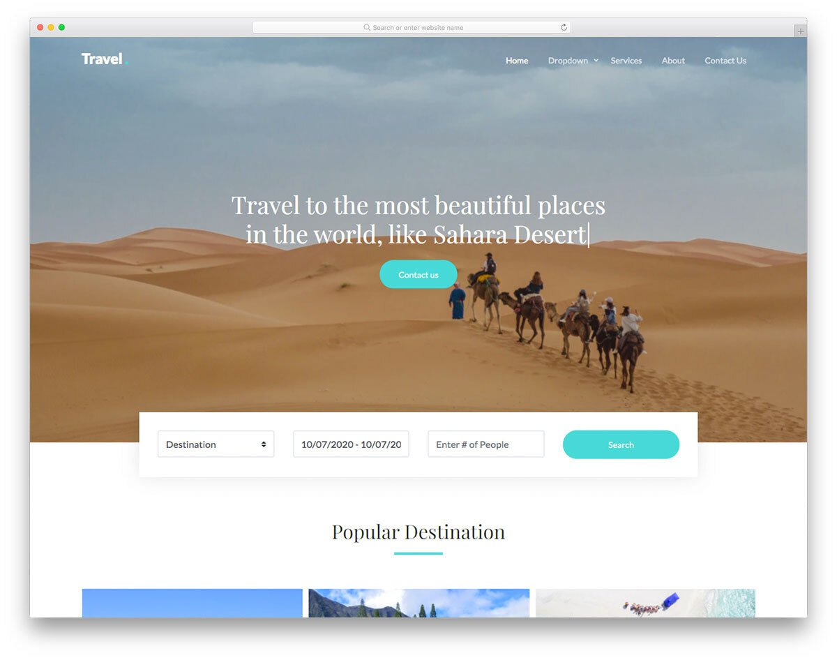 clean website template for travel websites