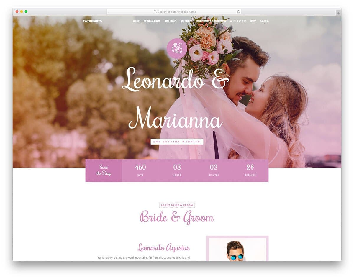 wedding website design template