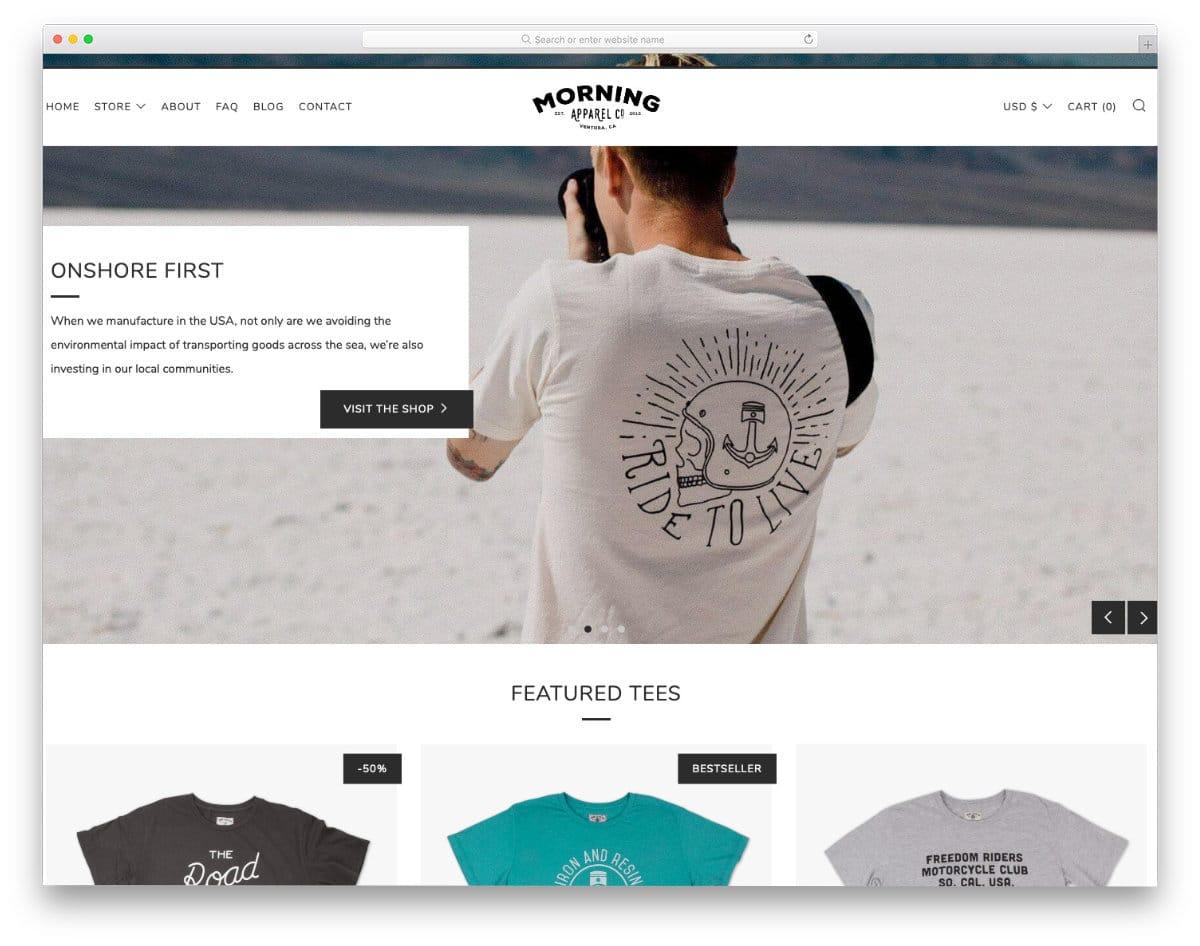 minimal shopify t-shirt theme