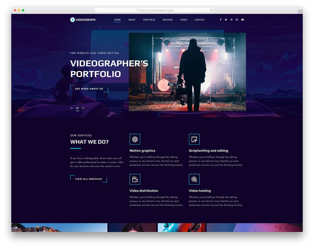 bootstrap portfolio template for videographers
