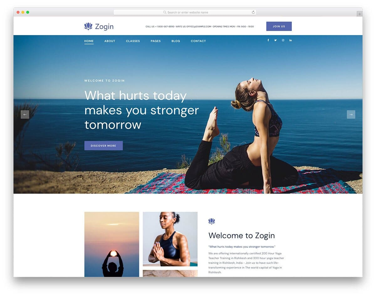 free yoga website template with a relaxing design