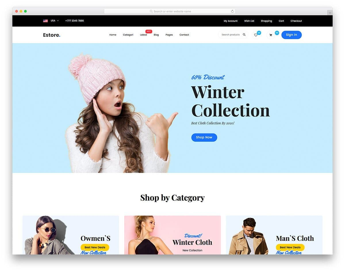 contemporary online store template