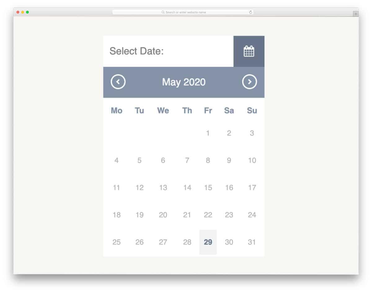 compact calendar design