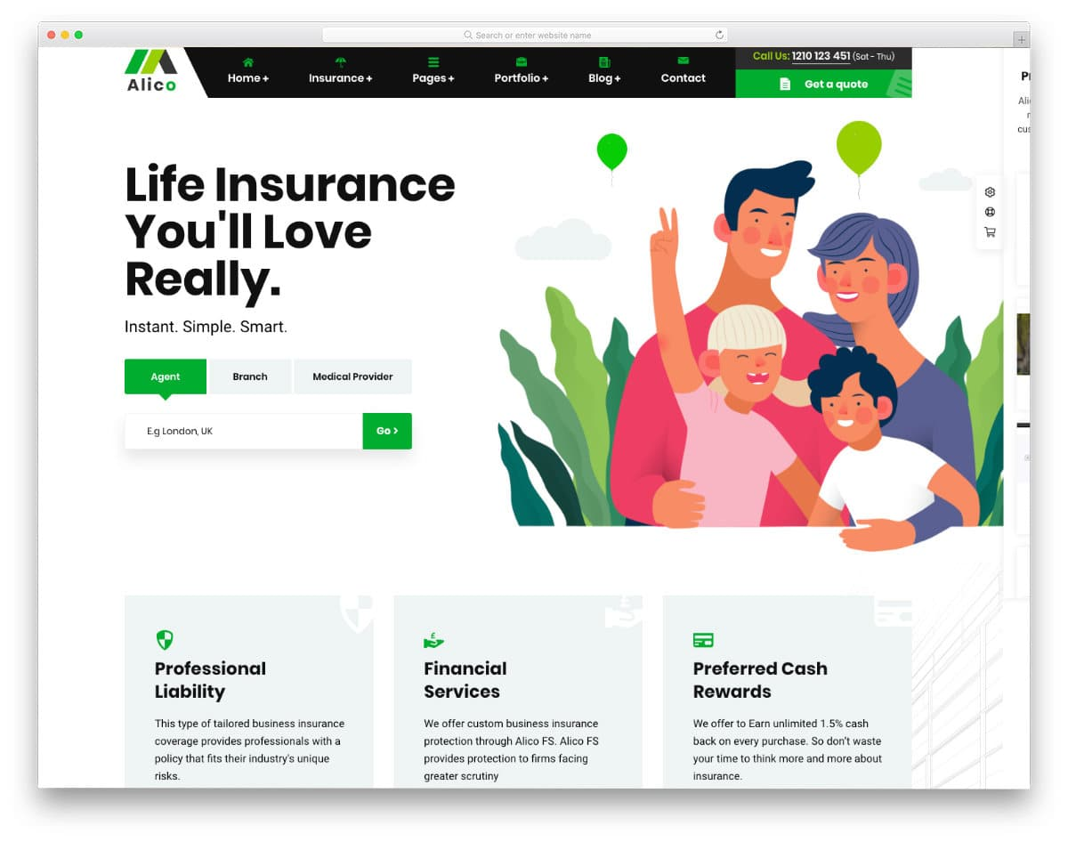 insurance website templates with friendly features