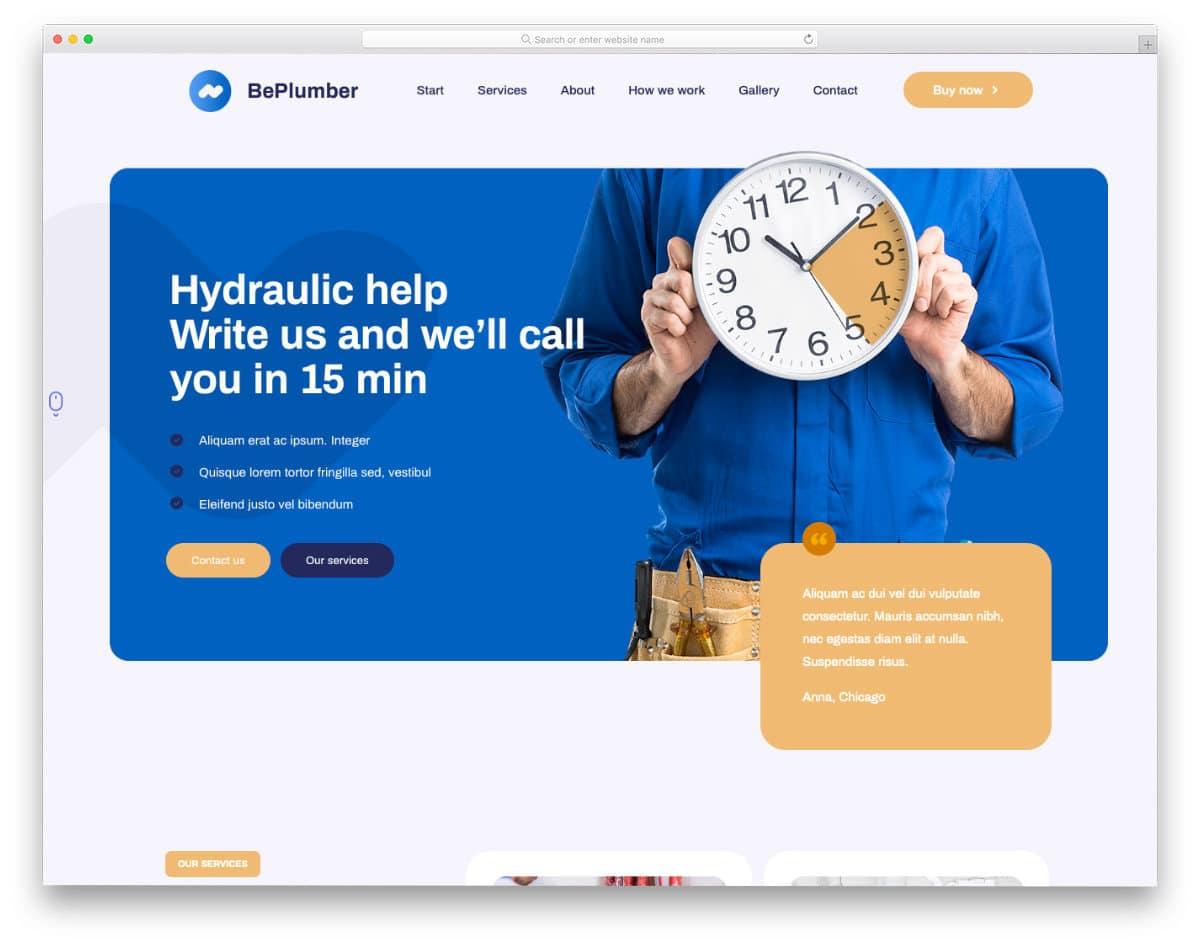 modern plumbing website templates