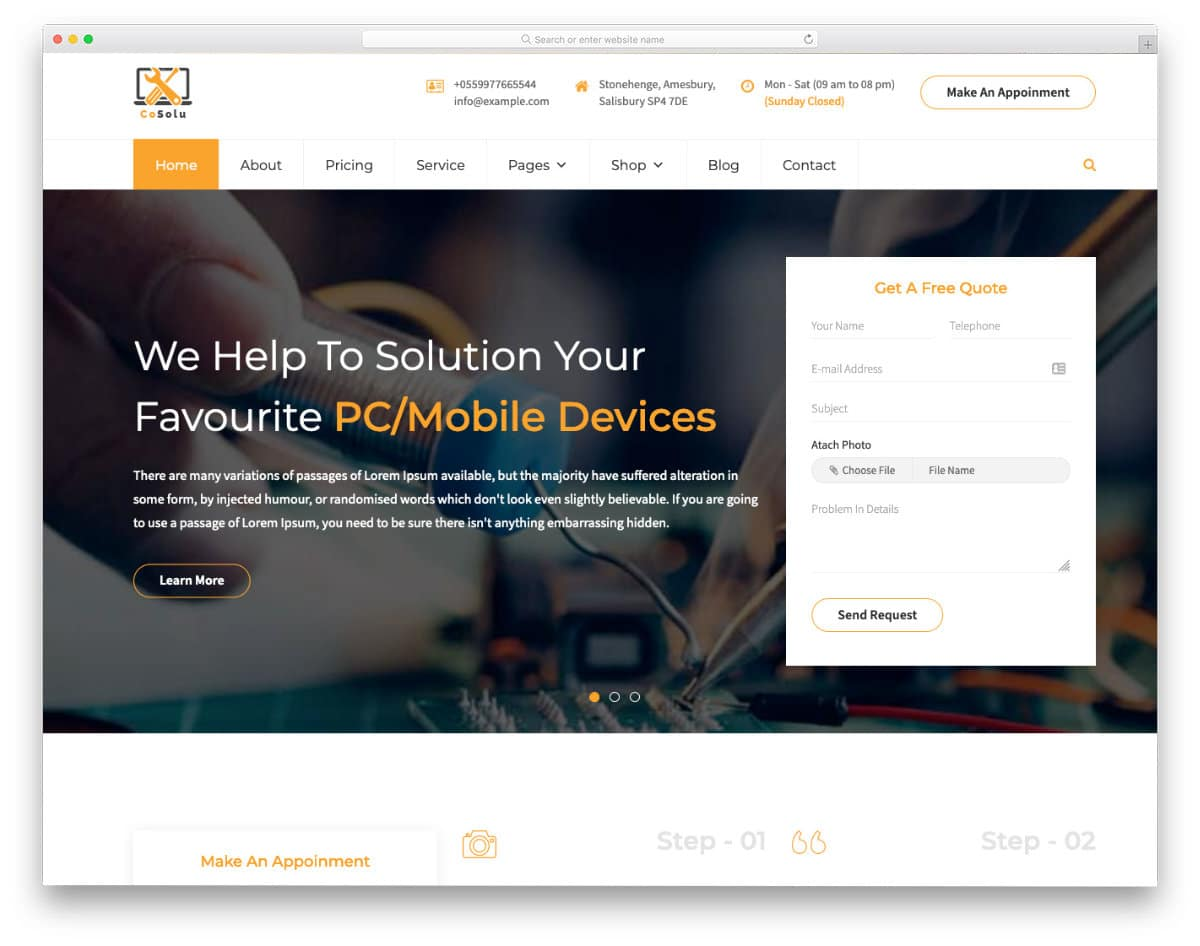 website template to improve online booking