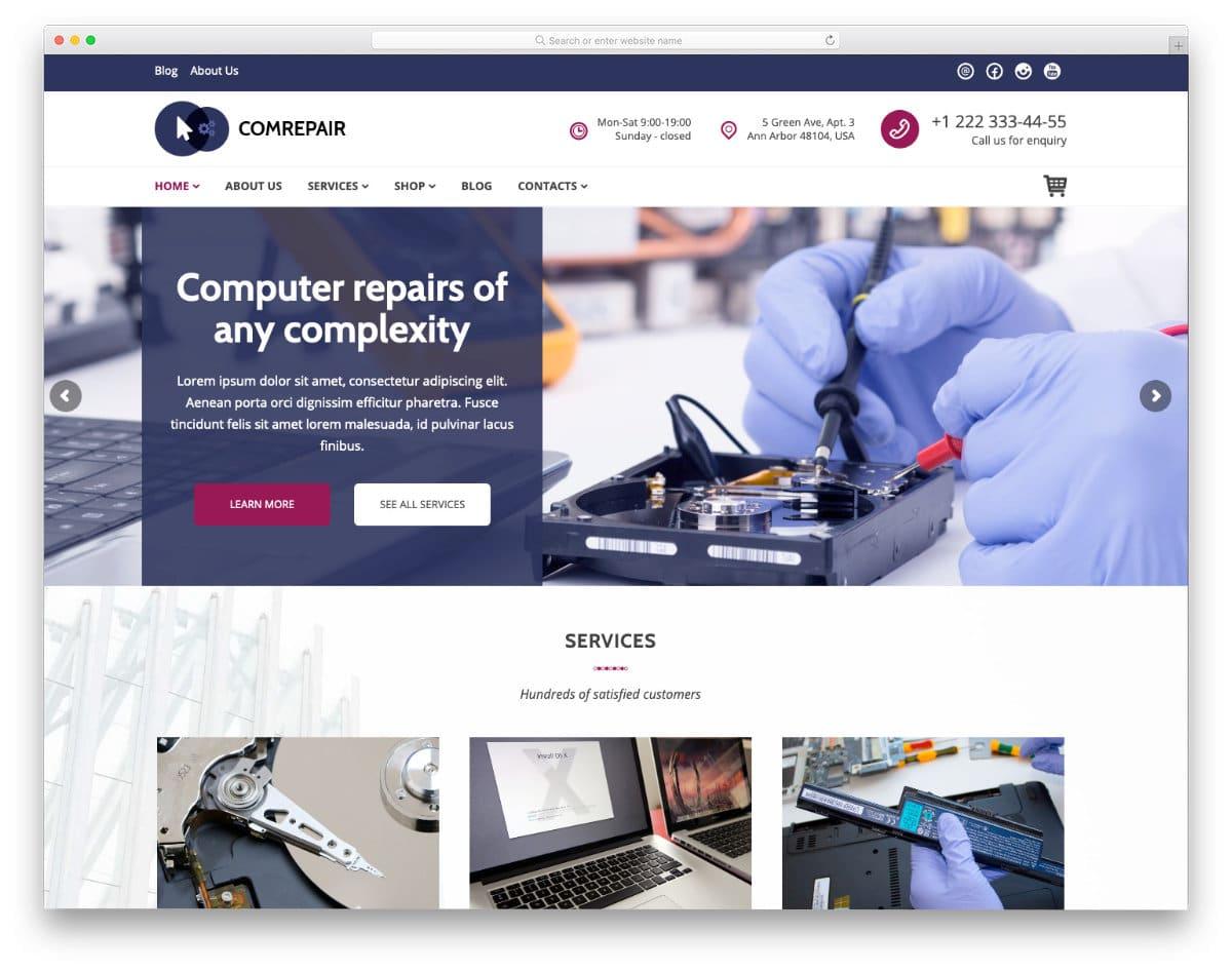 feature-rich computer repair web templates