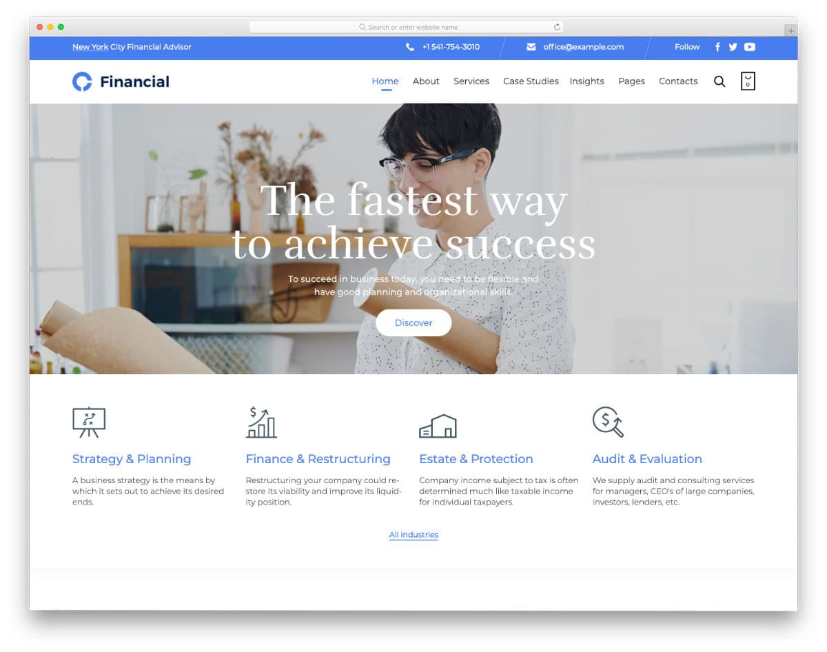clean and professional-looking insurance website templates