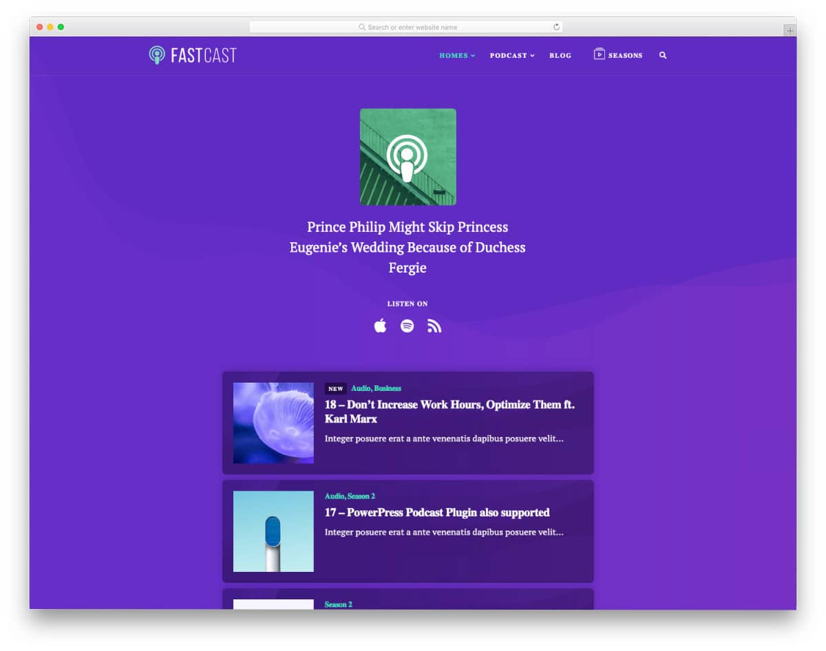 one page podcast website templates